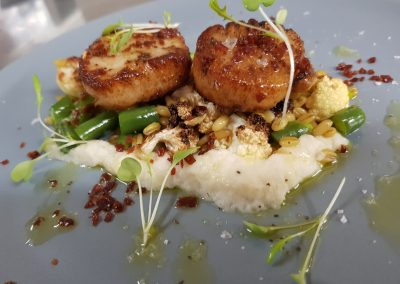 seared scallops, cauliflower puree, bean barley salsa & jamon crumb